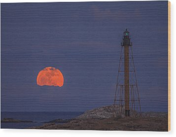 Winter Moon Rising Over Marblehead Light Wood Print