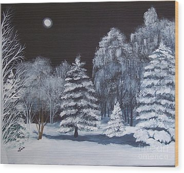 Winter Moonlight In The Country Wood Print