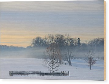 Winter Morning Fog Wood Print