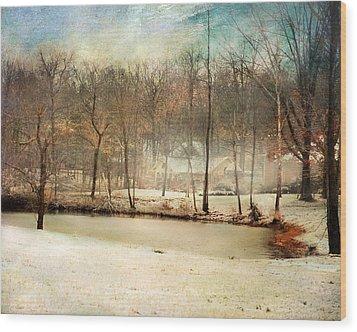 Winter Morning Pond Wood Print by Jai Johnson