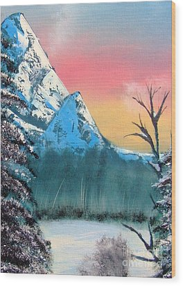 Winter Mountain Twilight Wood Print by Marianne NANA Betts