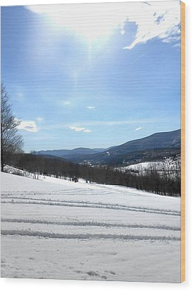 Winter Mountain Views Of Vly And Hunter Wood Print by Patricia Keller
