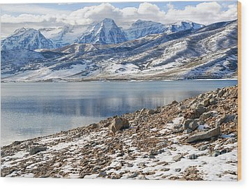 Winter Mt. Timpanogos And Deer Creek Reservoir Wood Print by Gary Whitton