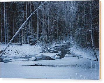 Winter Night At The River Wood Print