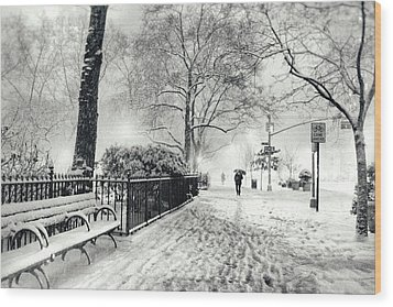 Winter Night - Snow - Madison Square Park - New York City Wood Print by Vivienne Gucwa