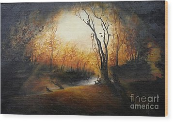 Winter Night Wood Print by Sorin Apostolescu
