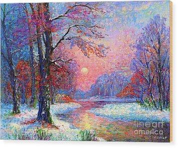Winter Nightfall, Snow Scene  Wood Print