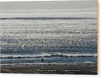 Winter Ocean Rockaway Beach Wood Print by Maureen E Ritter