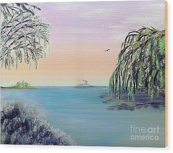 Winter On Lake Ponchartrain Wood Print by Alys Caviness-Gober