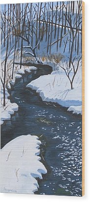 Winter On Penns Creek Wood Print