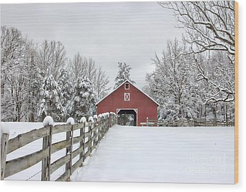 Winter On The Farm Wood Print by Benanne Stiens