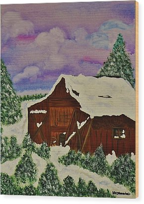 Wood Print featuring the painting Winter On The Farm by Celeste Manning