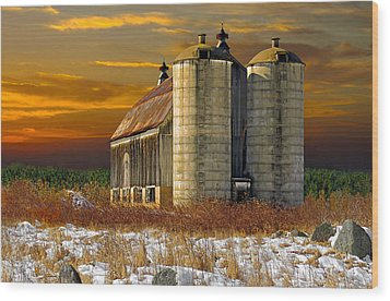 Wood Print featuring the photograph Winter On The Farm by Judy  Johnson