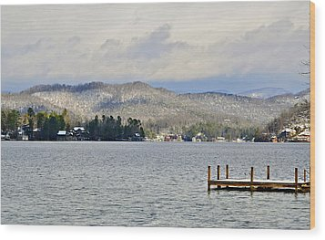 Winter On The Lake Wood Print by Susan Leggett
