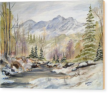 Wood Print featuring the painting Winter On The River by Dorothy Maier