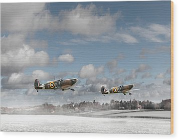 Winter Ops Spitfires Wood Print by Gary Eason