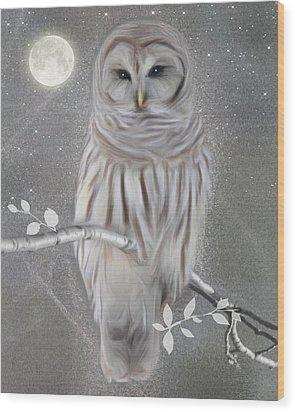 Wood Print featuring the digital art Winter Owl by Nina Bradica