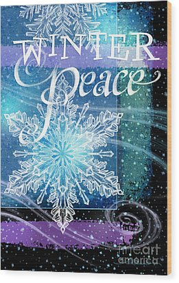 Winter Peace Greeting Wood Print