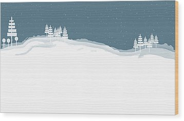 Winter Pines Wood Print
