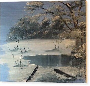 Winter Pond Of Peace Wood Print