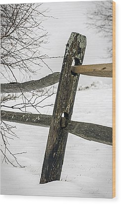 Winter Rail Fence Wood Print