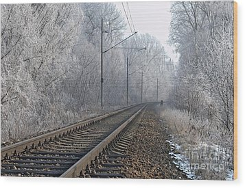 Winter Railroad Wood Print