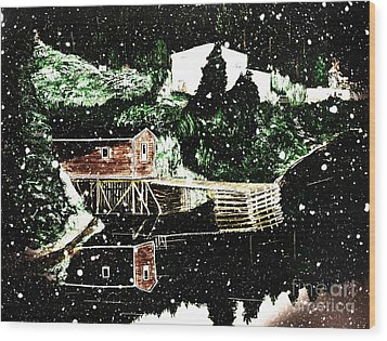 Winter Reflections Wood Print by Barbara Griffin