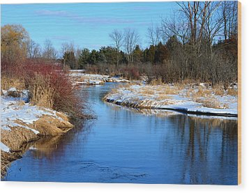 Winter River1 Wood Print by Jennifer  King