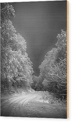 Winter Road Wood Print by John Haldane