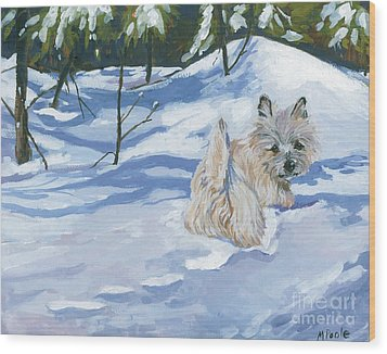 Winter Romp Wood Print by Molly Poole