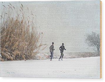 Winter Runners Wood Print by Betty LaRue