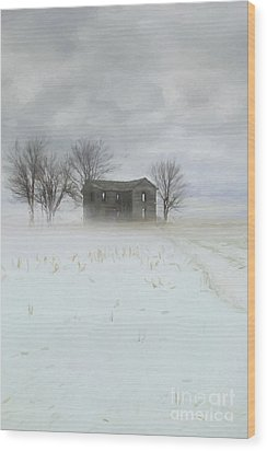 Wood Print featuring the photograph Winter Scene Of A Farmhouse/digital Painting by Sandra Cunningham