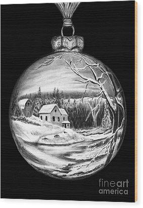 Winter Scene Ornament Wood Print by Peter Piatt