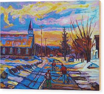 Winter Scene Painting-hockey Game In The Village-rural Hockey Scene Wood Print by Carole Spandau