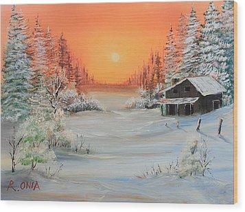 Winter Scene Wood Print by Remegio Onia
