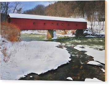 Winter Scene-west Cornwall Covered Bridge Wood Print by Thomas Schoeller