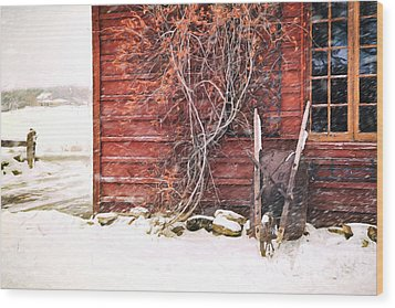 Wood Print featuring the photograph Winter Scene With Barn And Wheelbarrow/ Digital Painting  by Sandra Cunningham