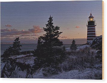 Winter Sentinel Lighthouse Wood Print