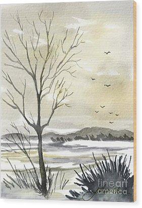 Winter Sky Wood Print by Joan A Hamilton