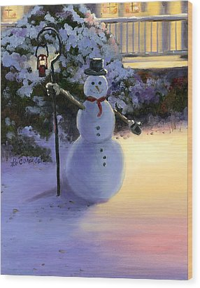 Winter Snow Man Wood Print by Cecilia Brendel