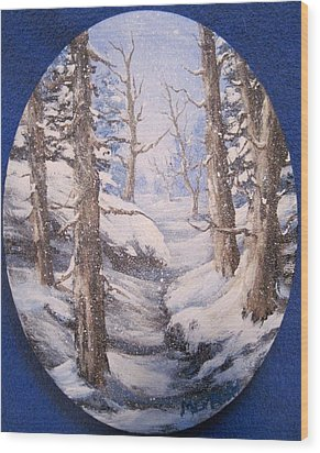 Wood Print featuring the painting Winter Snow by Megan Walsh