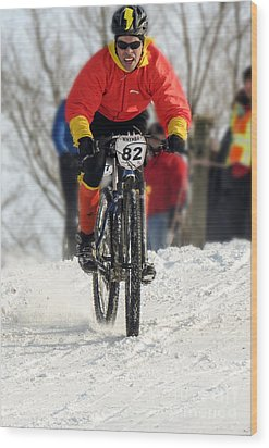 Winter Snow Mountain Bike Race Wood Print by Darleen Stry
