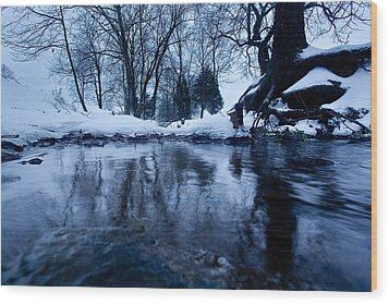 Winter Snow On Stream Wood Print