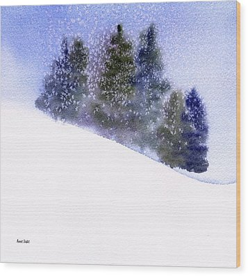 Wood Print featuring the painting Winter Snowfall by Anne Duke