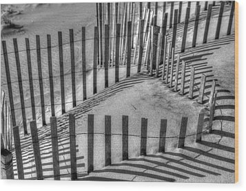 Winter Snowfence 2 Wood Print by Steve Gravano