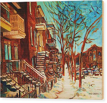 Wood Print featuring the painting Winter Staircase by Carole Spandau