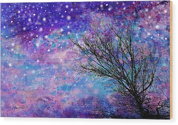 Winter Starry Night Wood Print by Ann Powell