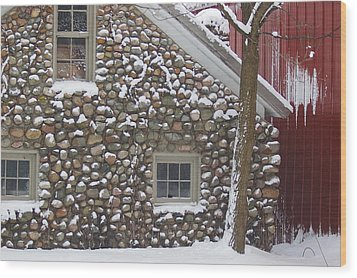 Winter Stone Pattern Wood Print by Randy Pollard