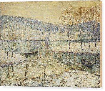 Winter Stream Wood Print by Ernest Lawson