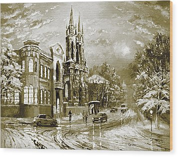 Winter Street Wood Print